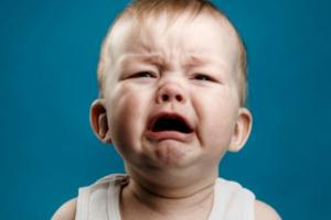 Crying baby close up